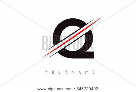 Q Letter Logo Design Cutted In The Middle With A Red Line And With Sharp Edges.  Creative Logo Desig