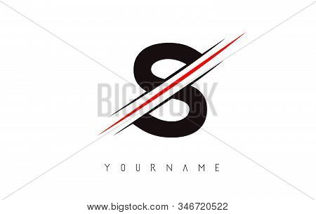 S Letter Logo Design Cutted In The Middle With A Red Line And With Sharp Edges.  Creative Logo Desig