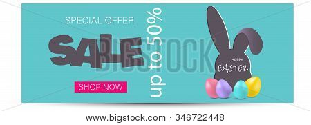 Vector Easter bunny looking out a green background. Happy Easter, easter bunny holiday, easter background, easter banners holiday, easter holiday flyer, easter holiday design. Vector illustration