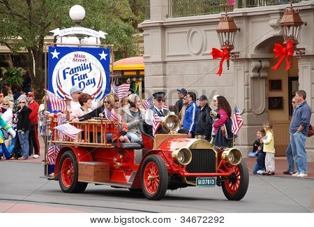 Family Day Parade At Disney World, Orlando