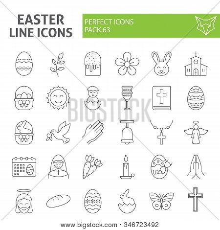Easter Thin Line Icon Set, Spring Holiday Symbols Collection, Vector Sketches, Logo Illustrations, R