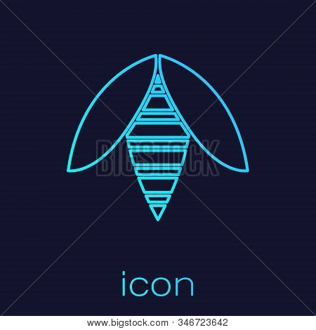 Turquoise Line Bee Icon Isolated On Blue Background. Sweet Natural Food. Honeybee Or Apis With Wings