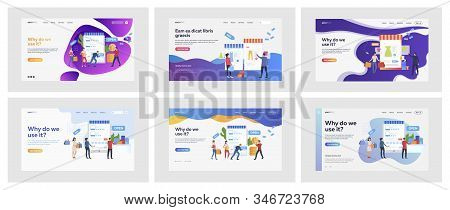 Set Of Casual People Buying Stuff Online. Flat Vector Illustrations Of Men And Women Using Shopping