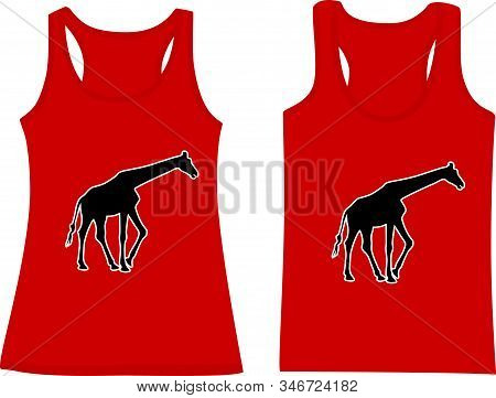 Set Of Sleeveless Tank Tops With Silhouette Of Giraffes.