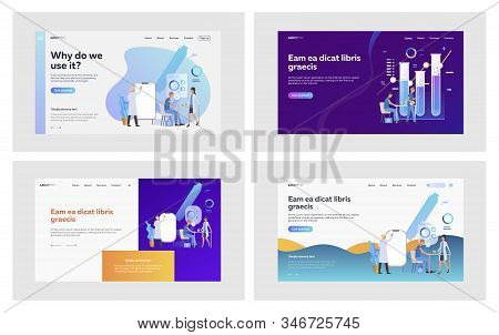 Medical Lab Research Set. Scientists Working In Laboratory With Test Tubes, Drawing On Flipchart. Fl