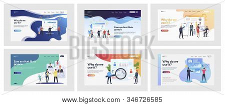 Set Of Business People Evaluating Personnel. Flat Vector Illustrations Of Men And Women In Suits Ass