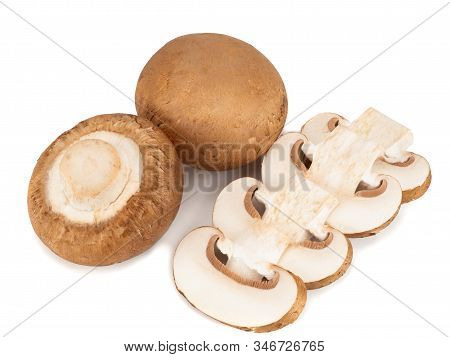 Royal Champignons And Four Champignon Slices On A White Background