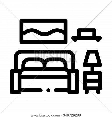 Bedroom Icon Vector. Outline Bedroom Sign. Isolated Contour Symbol Illustration