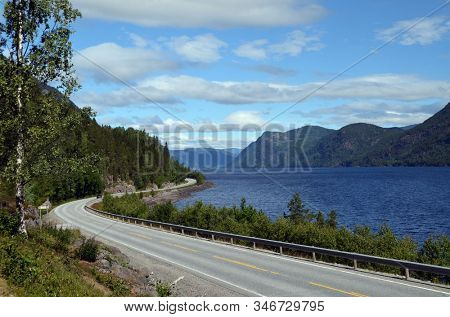 Road 37 near Rjukan,Norway summer landscape.