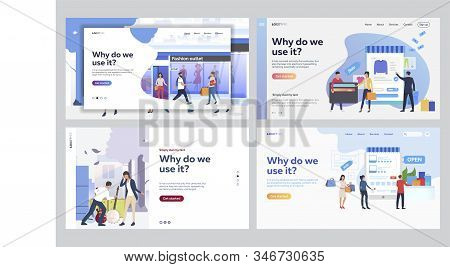 Set Of People Receiving Online Purchases. Flat Vector Illustrations Of People Shopping In Store. Onl