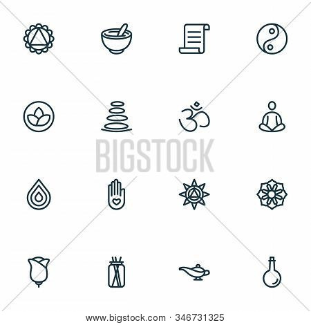 Meditation Icons Line Style Set With Yin Yang, Meditation, Oil Bottle And Other Zen Elements. Isolat