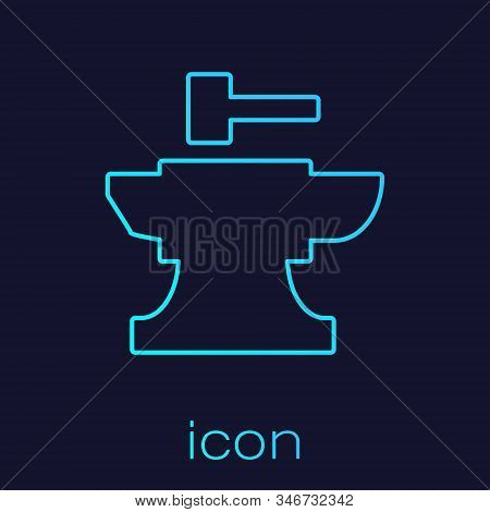 Turquoise Line Anvil For Blacksmithing And Hammer Icon Isolated On Blue Background. Metal Forging. F