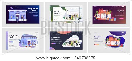 Set Of Casual People Shopping Offline And Online. Flat Vector Illustrations Of Men And Women Spendin