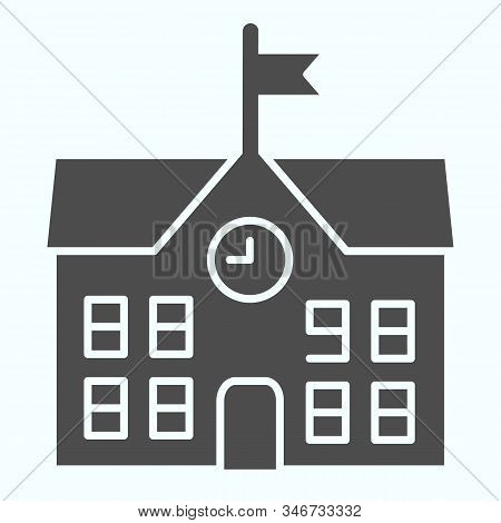 School Solid Icon. School Building Vector Illustration Isolated On White. Building With Clock And Fl