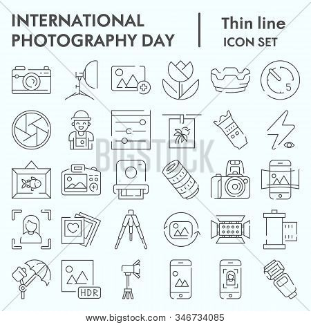 International Photography Day Thin Line Icon Set, Photography Set Symbols Collection, Vector Sketche