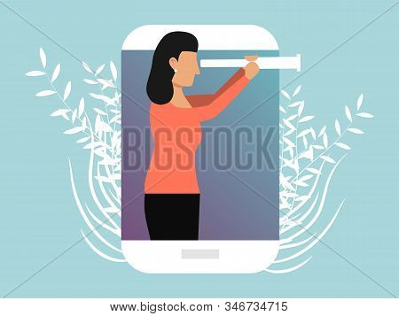 Businesswoman looking through a spyglass vector illustration. Business girl character foresight, looking to the future. Female person looks in spy glass. poster