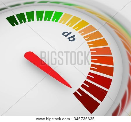 A Device For Measuring The Sound Intensity In Decibels. Infographic Gauge Element. Level Scale From