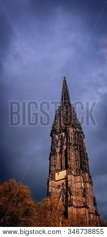 The Burned Spire Of St. Nicholas Church (st.-nikolai-kirche), A Gothic Revival Cathedral Who Was One