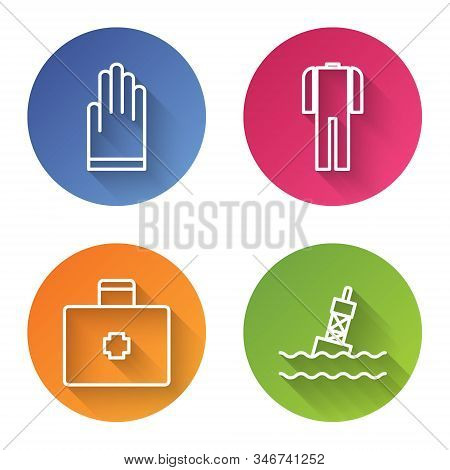 Set Line Gloves, Wetsuit For Scuba Diving, First Aid Kit And Floating Buoy On The Sea. Color Circle