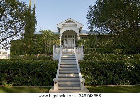 Brisbane, Queensland, Australia - 14th November 2019 : Entrance Of A Beautiful Queenslander House In