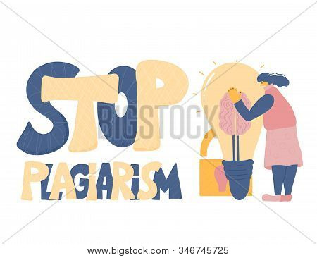 Stop Plagiarism Emblem, Copyright. Young Woman Dressed In Casual Clothes Trying To Protect Her Idea.