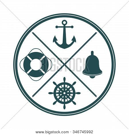 Ship's Wheel, Bell, Anchor And Lifebuoy Silhouettes With Crossed Lines And Circle Frame.