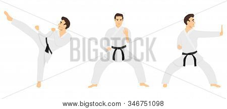 Male Karate. Karate Master Shows Tricks. Vector Illustration Of Karate Man In White Kimono Isolated
