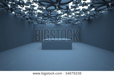 An abstract interior with illuminated ceiling of stylized flowers
