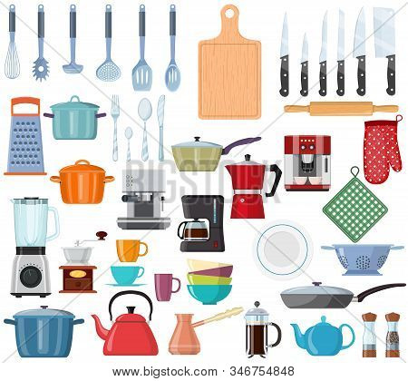 Kitchen Tools Set Icon. Kitchenware Collection. Lots Of Kitchen Tools, Utensils, Cutlery. Web Page D