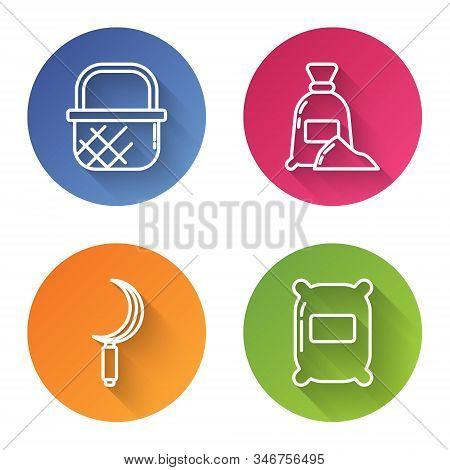 Set Line Shopping Basket, Bag Of Flour, Sickle And Bag Of Flour. Color Circle Button. Vector