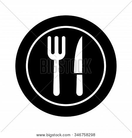 Flatware - Fork, Spoon , Plate And Knife Icon Vector Design Template