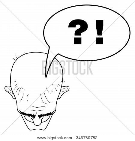 Head Of A Bald Man Top View. Woe From The Mind. Tormenting Thoughts. Questions And Answers. Bald Hea