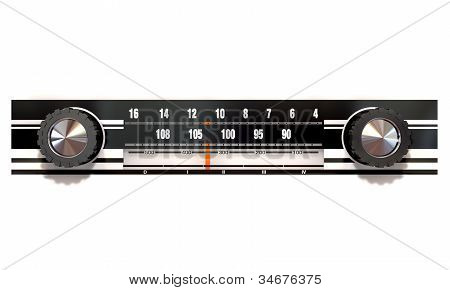 A vintage radio face with tuning knobs and frequency indicator on an isolated background poster