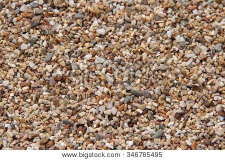 Sea Pebble Texture. Small Multicolored Pebble-stones. Beach Stones Surface