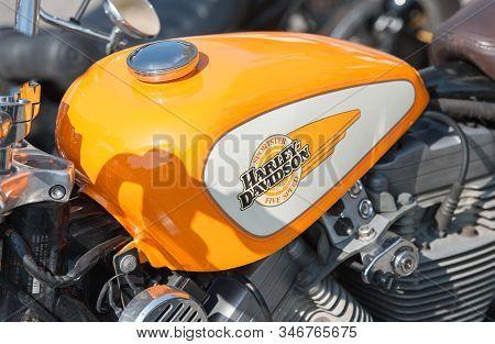 Rushmoor, Uk - April 19: Closeup Of A Harley Davidson Motorcycle Fuel Tank In Rushmoor, Uk - April 1