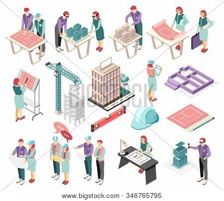 Architects Engineers Isometric Icons Collection With Buildings Complex Planning Sketching Blue Print