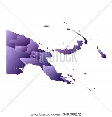 Papua New Guinea Map. Geometric Style Country Outline. Enchanting Violet Vector Illustration.