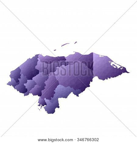 Honduras Map. Geometric Style Country Outline. Pleasant Violet Vector Illustration.