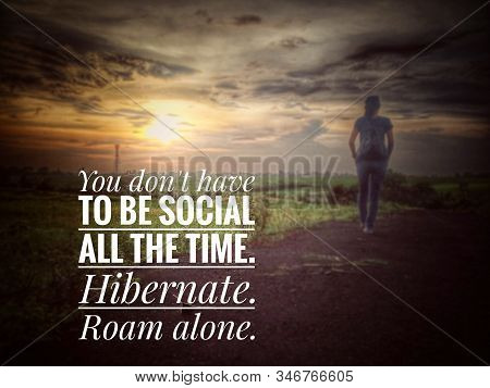 Inspirational Motivational Quote - You Do Not Have To Be Social All The Time. Hibernate. Roam Alone.