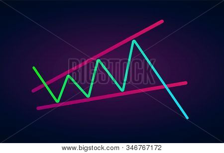 Ascending Broadening Wedge Pattern - Bearish Formation Figure, Chart Technical Analysis. Vector Stoc