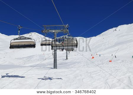 Austrian Alps Winter Ski Resort - Mayrhofen In Tyrol. Austrian Central Alps. Horberg Mountain.