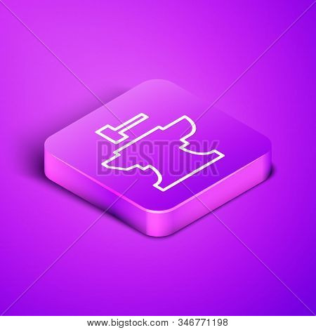 Isometric Line Anvil For Blacksmithing And Hammer Icon Isolated On Purple Background. Metal Forging.
