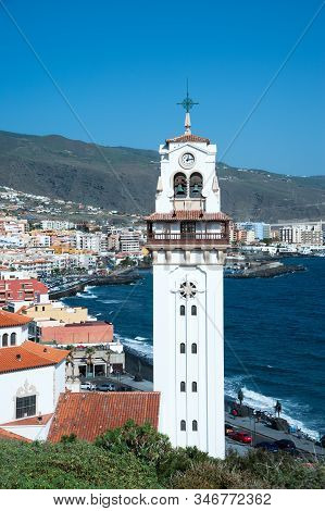 Beautiful View On Candelaria Town With Basilica De Nuestra Senora De Candelaria Church On The Foregr