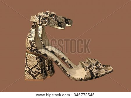 Brown Animal Print Heeled Sandals With Straps Isolated On Brown Background. Fashion Sandals With A S
