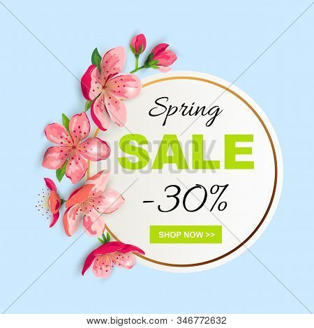 Spring Sale Banner With Cherry, Sakura Blossom. Place For Text. Template For Poster, Web, Invitation