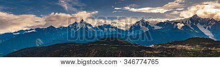 High Resolution Panorama Of Kawagarbo Mountain Range Between Yunnan And Tibet In China (16.192 X 4.2