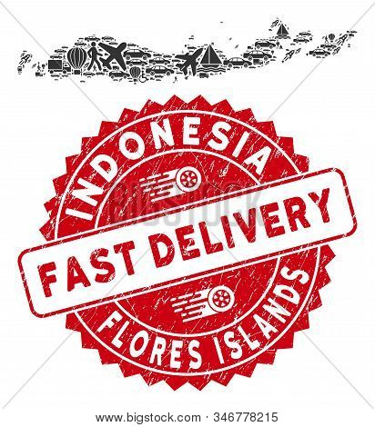 Deliver Collage Flores Islands Of Indonesia Map And Corroded Stamp Seal With Fast Delivery Text. Flo