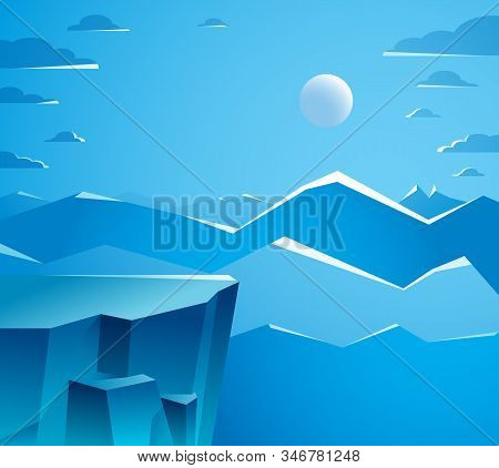 Beautiful Mountain Landscape With Moon In The Night, Moon Over Peak Scenic Nature Vector Illustratio