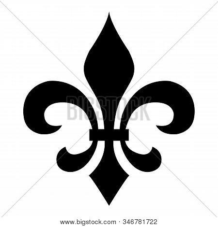 Fleur De Lis On White Background. Flat Style. Medieval Sign. Glowing French Fleur De Lis Royal Lily.