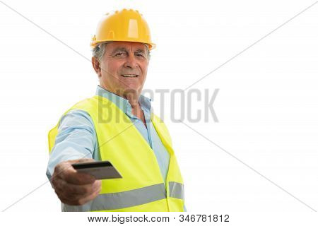 Friendly Old Male Engineer With Trustworthy Expression Presenting Credit Card As Cashless Concept Is